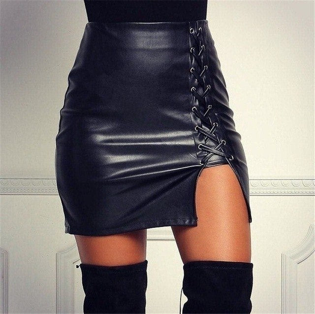 PU Faux Leather Women Bodycon Skirts 2017 Sexy Empire Solid Lace Up Hollow Out Pencil Mini Skinny Split Skirts Black Female **-geekbuyig