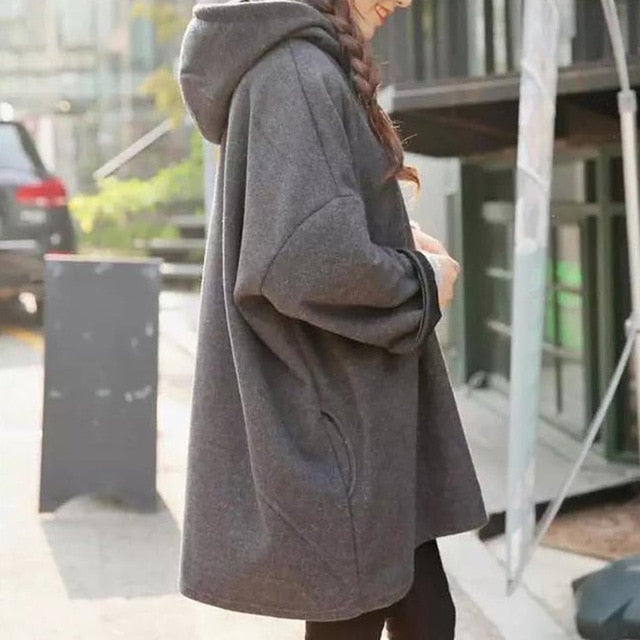Fashion New Women Harajuku Style Loose Hoodies Females Long Solid Color Hooded Tops Womens Bf Korean Female Pullover Students-geekbuyig