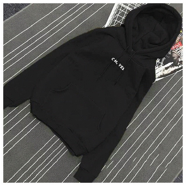 Oh Yes Letter Harajuku Casual Coat Two Layers Hat 2018 Winter Fleece Pullover Thick Loose Women Hoodies Sweatshirt Female-geekbuyig