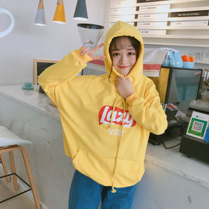 2018 New Autunm Loose Letter Printed Hooded Casial College Wind All Match Simple Long Sleeve Female Sweatshirts-geekbuyig