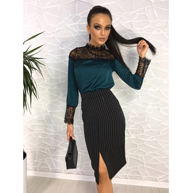 Women Sexy Lace Patchwork Club Blouse Ladies Stand Collar Long Sleeve Autumn Tops 2018 New Fashion Women Elegant Office Blouse-geekbuyig