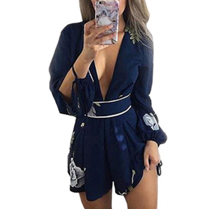 Wuhaobo 2018 Summer Casual Fashion Playsuit Lace Collar Stamp V Backless Sexy Female Beach Long Sleeve Jumpsuit Rompers-geekbuyig