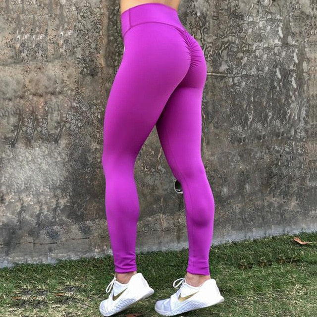 Female Fitness Push Up Leggings Women Polyester Solid Casual high Waist Ankle-Length Plus Size Legins Workout Leggings Female-geekbuyig