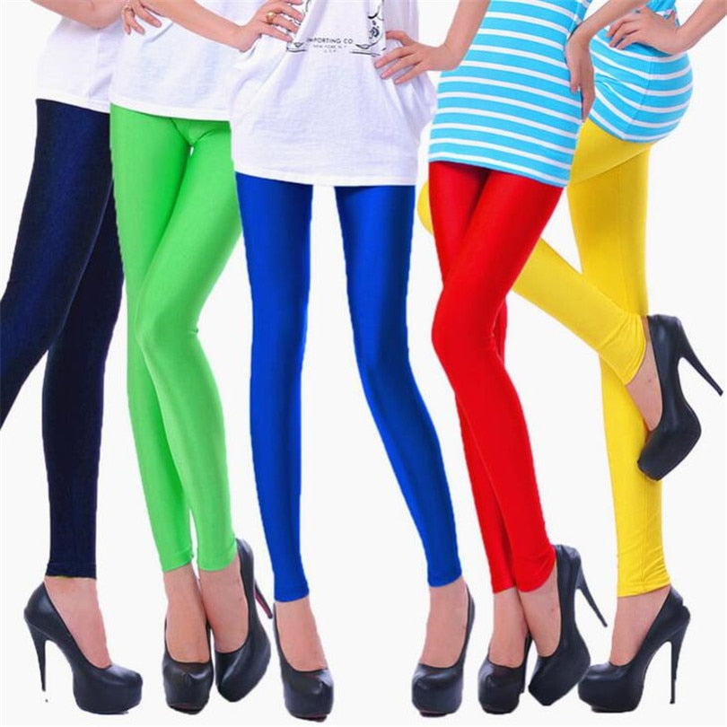 YRRETY 2018 Women Slim Spandex Leggings Solid Candy Color Neon Leggings Adventure Time Skinny High Elastic Female Pants Leggins-geekbuyig