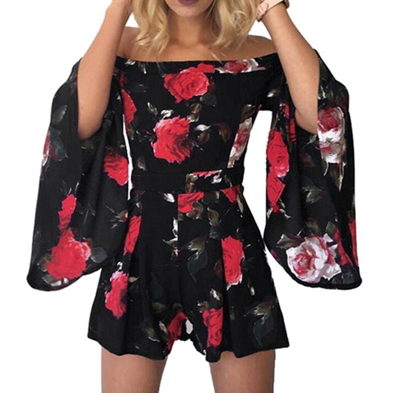 Wuhaobo Floral Print Jumpsuit Romper Women Elegant Off Shoulder Summer Beach Overalls Sexy One Piece Playsuit Combishort Femme-geekbuyig