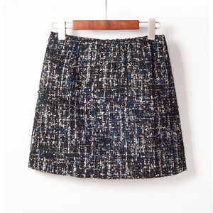 2019 New Winter Fashion Small Fresh Style Sequins Tweed Pencil Skirt High Waist Bag Hip Skirt All-match Mini Skirt Free Shipping-geekbuyig