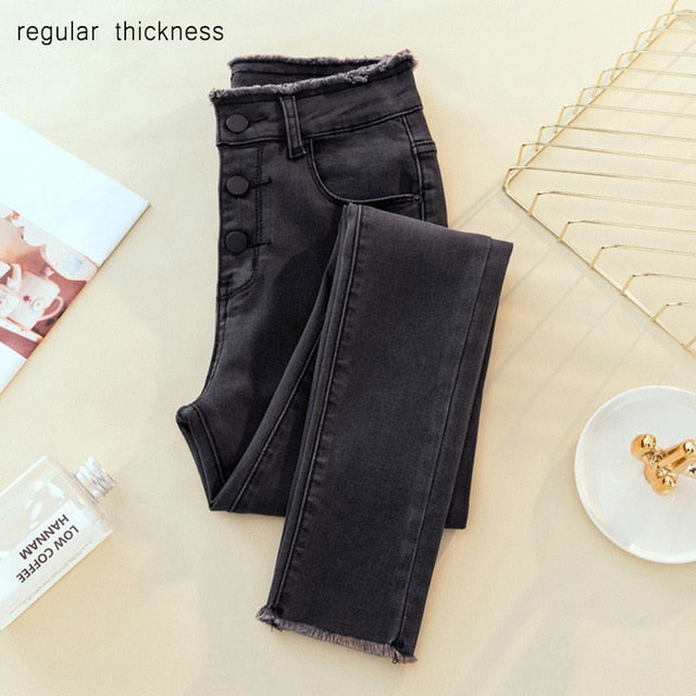 High Waist Ripped Skinny Pencil Jeans Woman Plus Size Gray Black Mom Stretch jeans Ladies women jeans pants Denim jeans mujer-geekbuyig