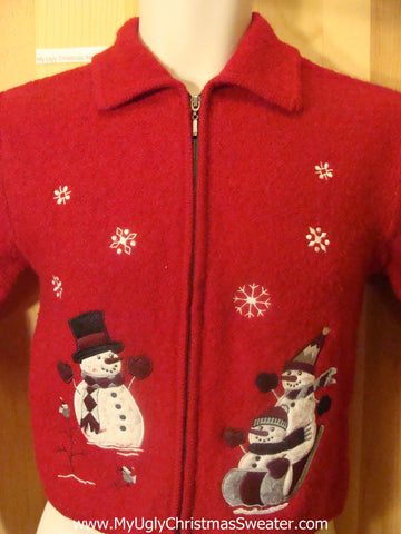 Child Ugly Christmas Sweater with Snowmen