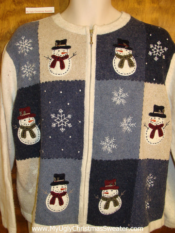 Patchwork Snowman Cheesy Christmas Jumper Sweater