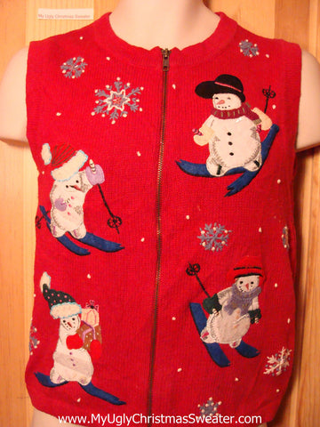 Tacky Ugly Christmas Sweater Vest with Four Snowman Children Skiing (f281)