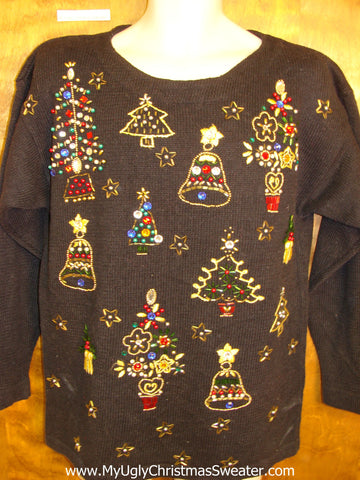 Bling Trees Retro Horrible Ugly Christmas Sweater Pullover