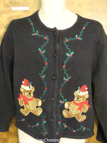 Twin Teddy Bears Cheap Ugly Christmas Sweater