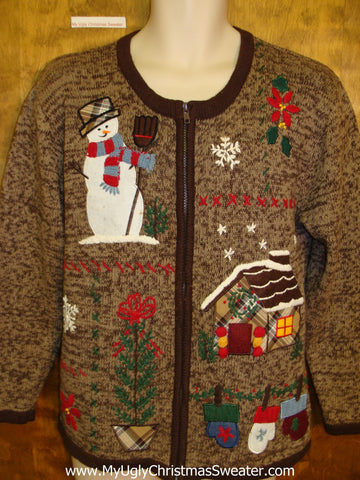 Ugly Brown Christmas Sweater with Snowman and Mittens