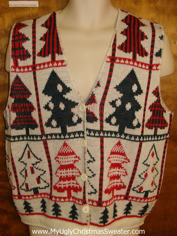 Amazing 80s Trees Ugly Christmas Jumper Vest