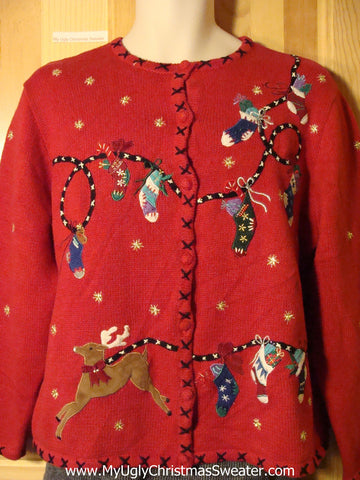 Tacky Two Sided Decorations Ugly Christmas Sweater with Reindeer (f733)