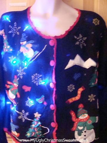 Light Up Ugly Xmas Sweater Snowmen Snowboarding