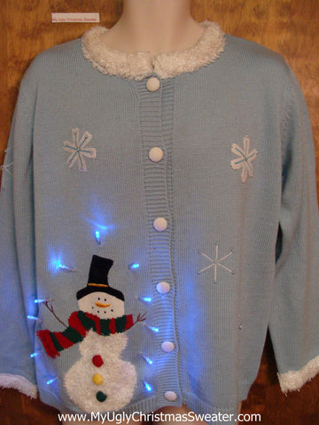Happy Snowman Light Up Ugly Xmas Sweater