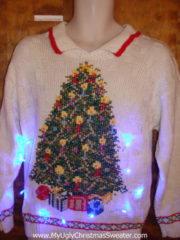 Light Up Tree Ugly Xmas Sweater with Collar
