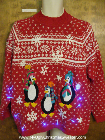 Happy Feet Penguins Nordic Light Up Ugly Xmas Sweater