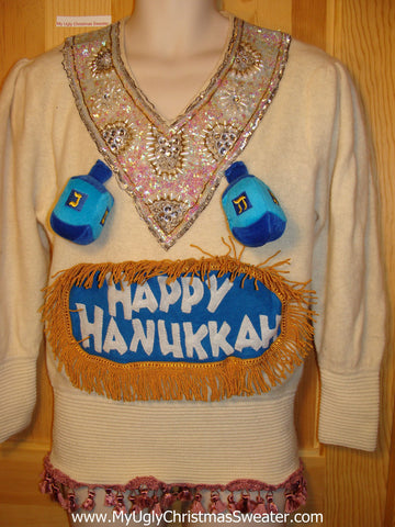 Ugly Christmas Sweater Party Hanukkah Sweater Vintage 80s Naughty Dreidles at Chest  (j141)
