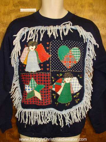 Tacky Christmas Sweatshirt Crafty Plaid Angels