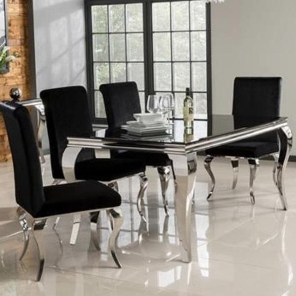 Louis Dining Table Black with 4 chairs
