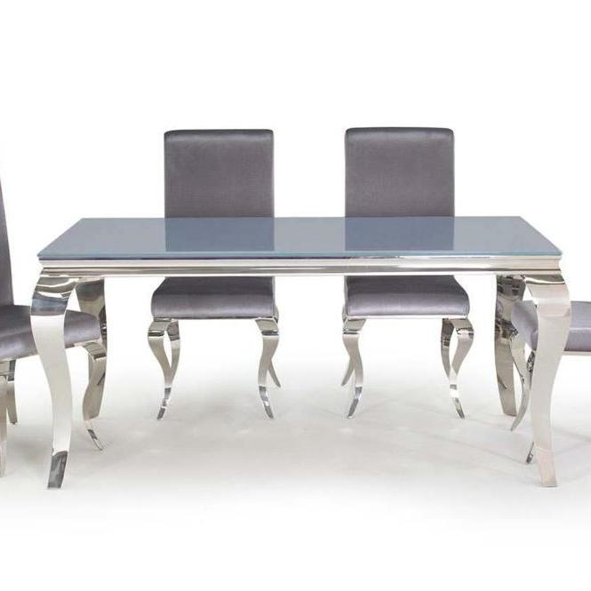 Louis Dining Table Grey with 4 Chairs