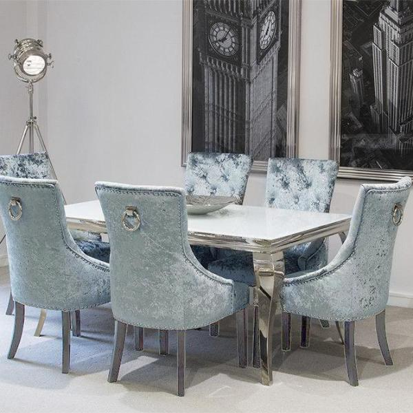 Louis Dining Table White with Pewter Knocker-back Chairs
