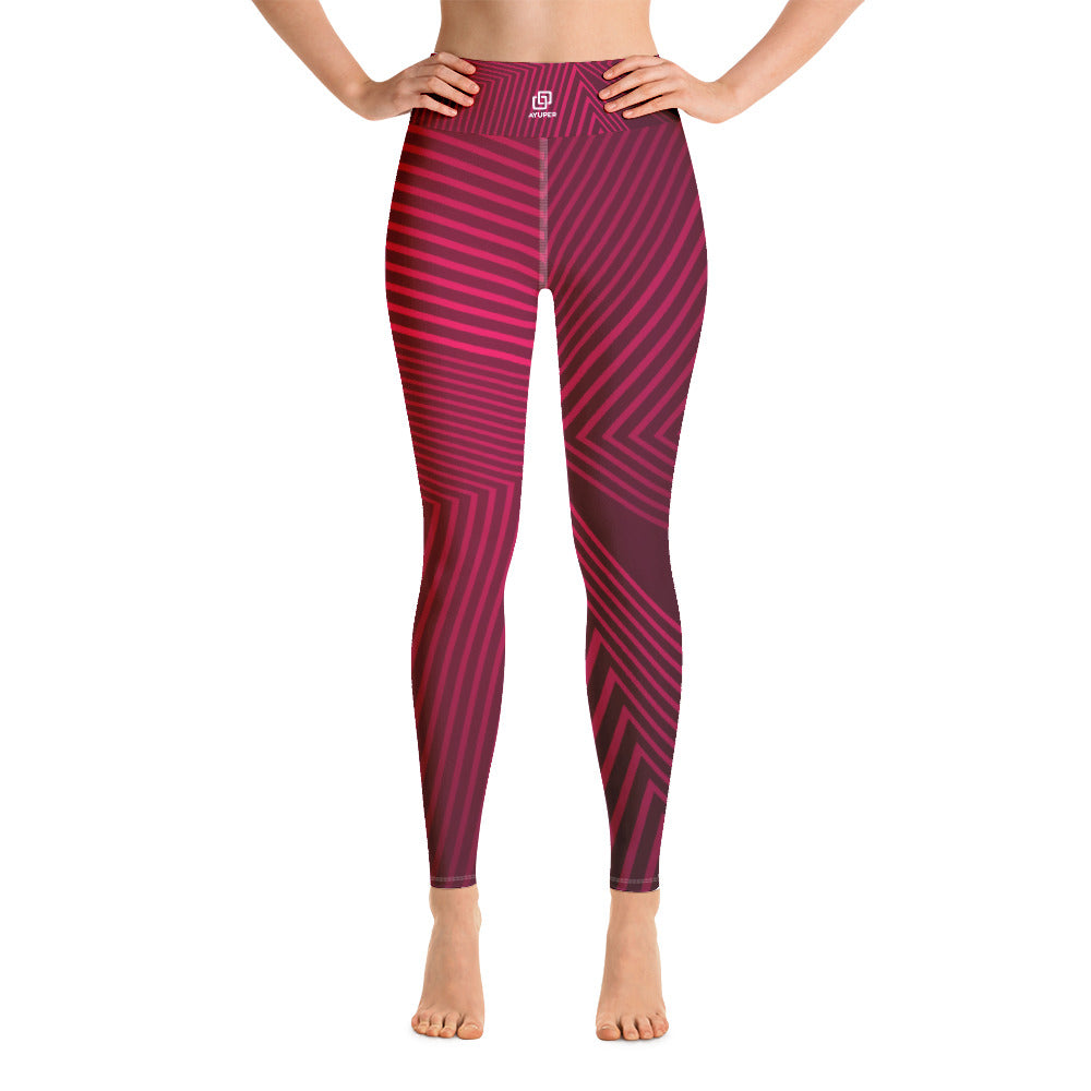 Red Abstracts Yoga Leggings - Ayuper