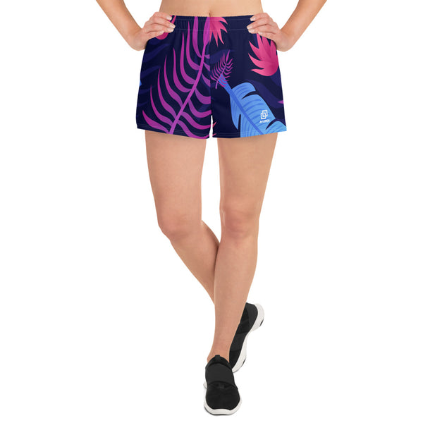 Colourful Tropical Leafs Athletic Short Shorts - Ayuper