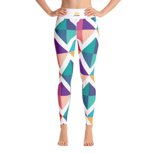 Colourful Diamond Squares Yoga Leggings - Ayuper