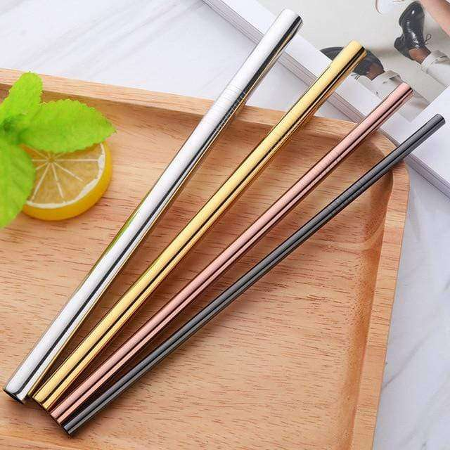 STAINLESS STEEL STRAWS - Set of 4 - HappyStraws