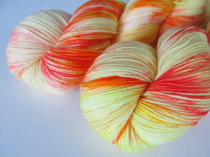 indie dyed superwash merino and nylon yellow sock yarn