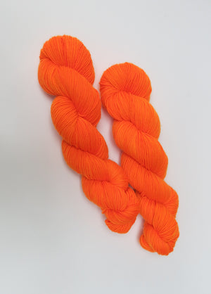 8 ply superwash merino in neon orange