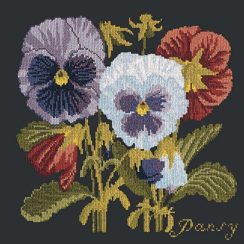 Pansy Needlepoint Kit Elizabeth Bradley Design Black