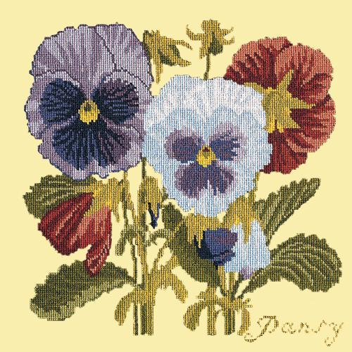 Pansy Needlepoint Kit Elizabeth Bradley Design Butter Yellow
