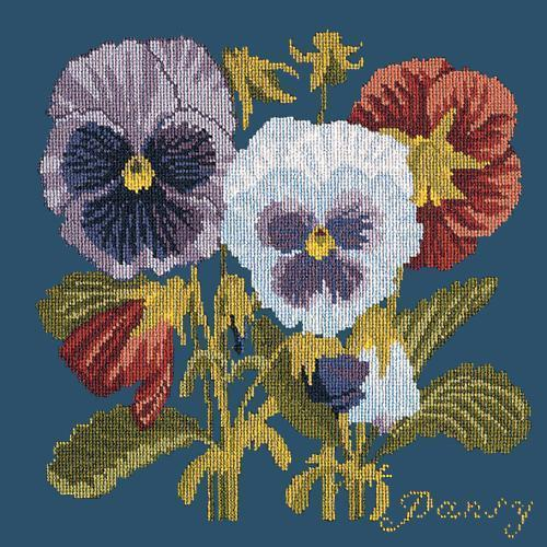 Pansy Needlepoint Kit Elizabeth Bradley Design Dark Blue