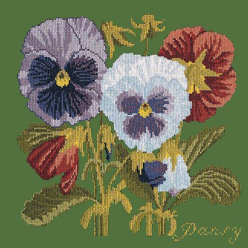 Pansy Needlepoint Kit Elizabeth Bradley Design Dark Green