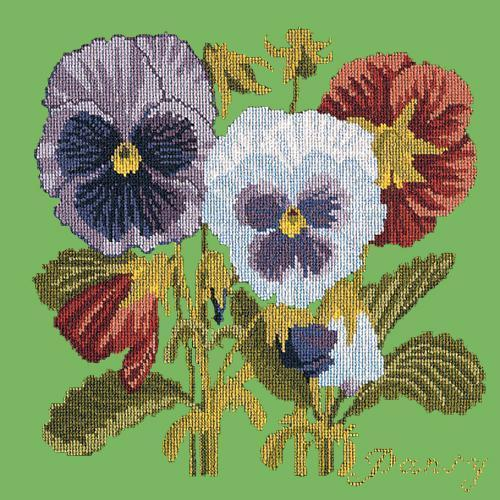 Pansy Needlepoint Kit Elizabeth Bradley Design Grass Green