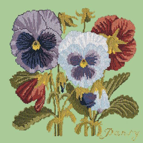 Pansy Needlepoint Kit Elizabeth Bradley Design Pale Green