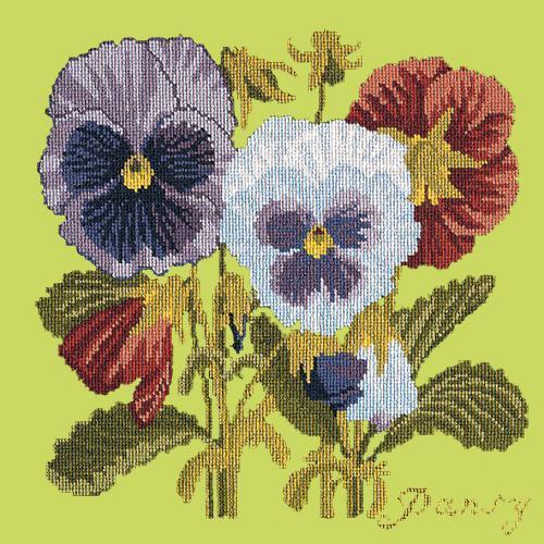 Pansy Needlepoint Kit Elizabeth Bradley Design Pale Lime