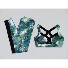 Tenue yoga femme tenue pilate fitness ensemble exotique tropical bleu fitness