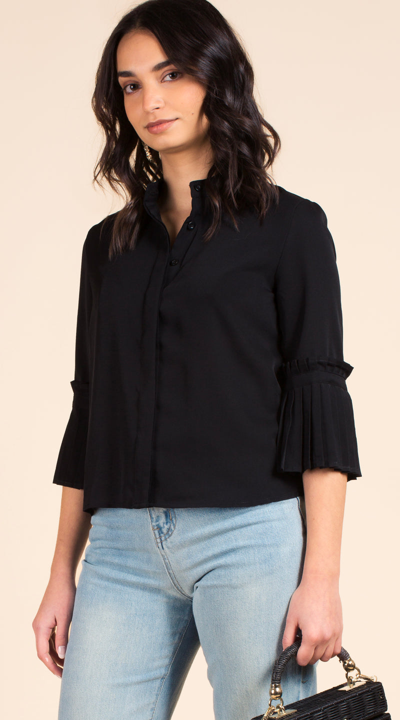 Black Pleated Shirt