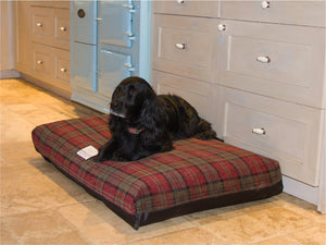 Luxury Dog Bed and Fabric Cover in Red Tartan