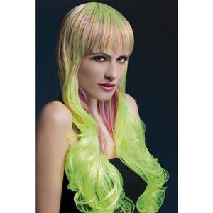 Fever Smiffys Emily Wig Soft Curl With Fringe-Pur/Yell 28""
