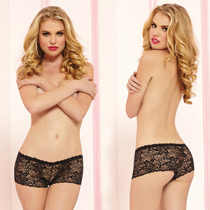 Allover Lace Boyshorts-Black Large