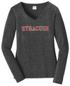 Port & Company Women's Distressed Syracuse V-Neck Long Sleeve