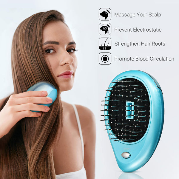 Portable Electric Ionic Hair brush Mini Hair Brush Comb Massager