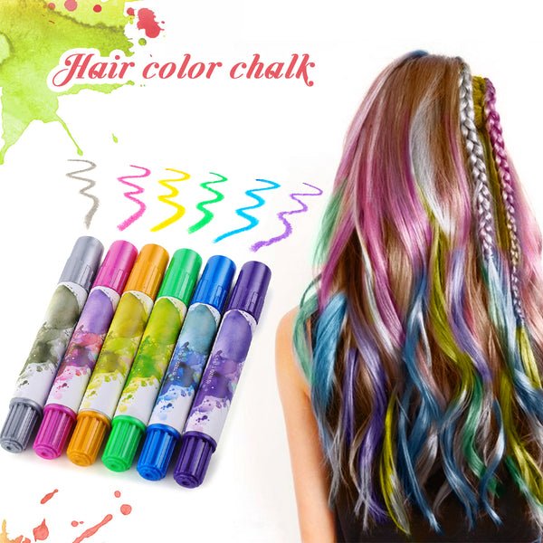 6PCS Hair Color Chalk, DIY Temporary Hair Dye for Both ...