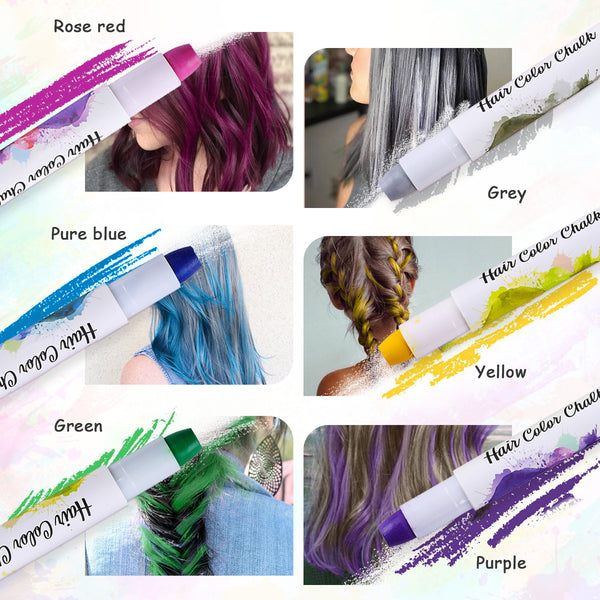 6PCS Hair Color Chalk, DIY Temporary Hair Dye for Both Children & Adults, Safe Material, Non-Toxic